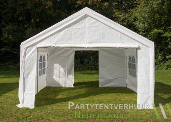 Partytent 4x4 meter voorkant met deur open huren - Partytentverhuur Dordrecht