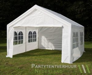 Partytent 4x4 meter voorkant schuin huren - Partytentverhuur Dordrecht