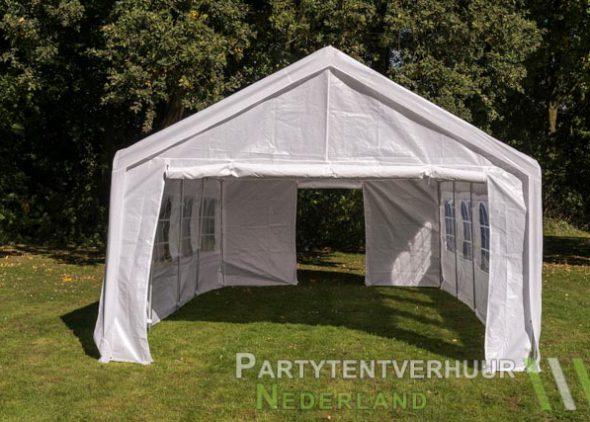 Partytent 4x8 meter voorkant met deur huren - Partytentverhuur Dordrecht