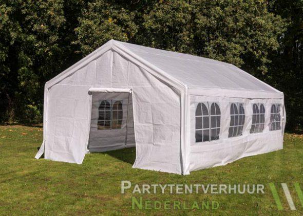 Partytent 4x8 meter voorkant schuin met deur huren - Partytentverhuur Dordrecht