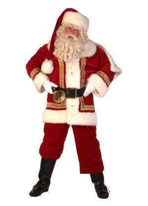 professioneel kerstmanpak met baard, bel en riem