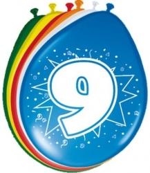 9 Jaar ballon multikleur kopen - Partytentverhuur Dordrecht