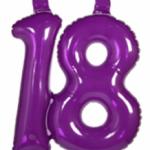 Opblaascijfer 18 paars - Partytentverhuur Dordrecht