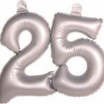 Opblaascijfer 25 zilver - Partytentverhuur Dordrecht
