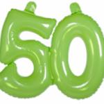Opblaascijfer 50 lime - Partytentverhuur Dordrecht