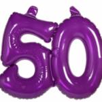 Opblaascijfer 50 paars - Partytentverhuur Dordrecht
