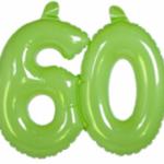 Opblaascijfer 60 lime - Partytentverhuur Dordrecht