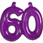 Opblaascijfer 60 paars - Partytentverhuur Dordrecht