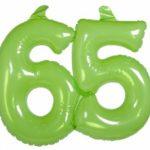 Opblaascijfer 65 lime - Partytentverhuur Dordrecht