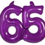 Opblaascijfer 65 paars - Partytentverhuur Dordrecht